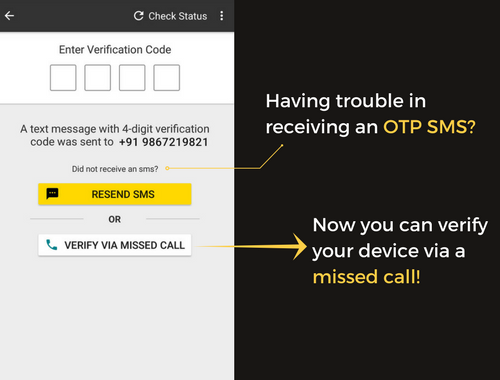 missed call verification